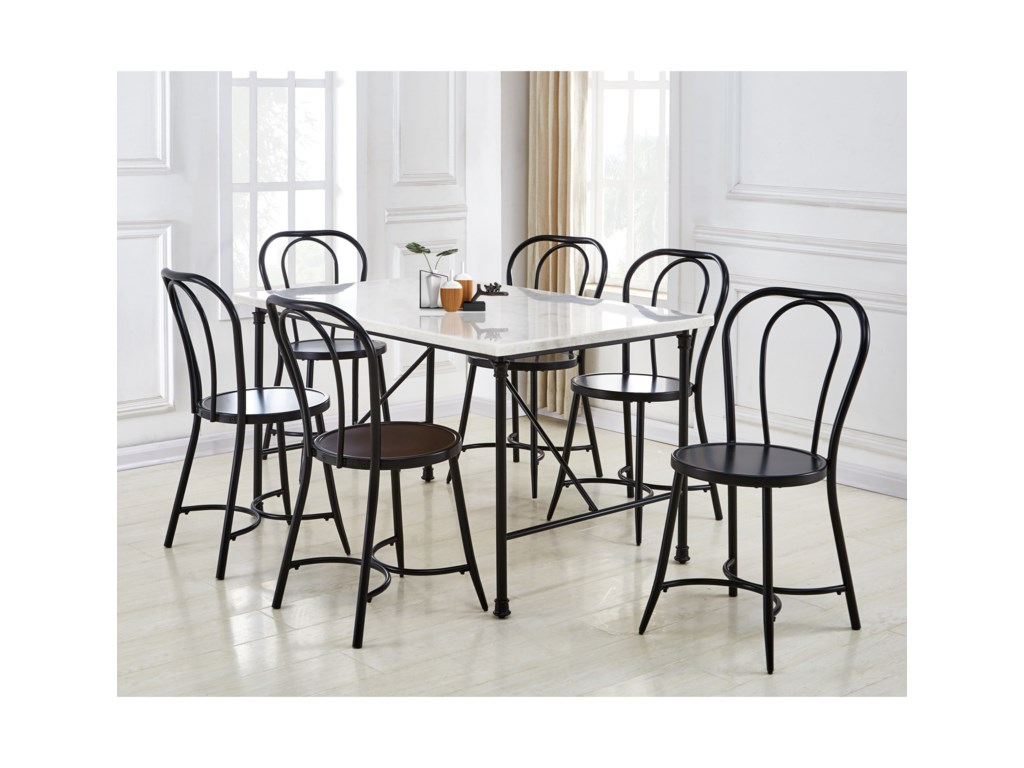 Steve Silver Claire Contemporary Dining Table With White Marble Top Wayside Furniture Dining Tables