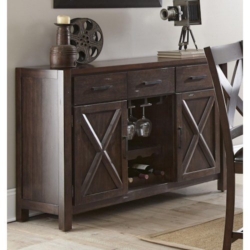 Steve Silver Clapton 3 Drawer Server with 2 doors and hanging glass storage