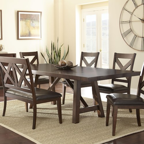 Steve Silver Clapton Trestle Table with 2 Leaves