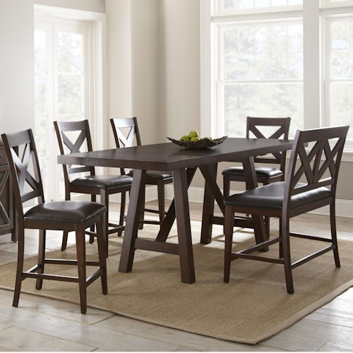 Steve Silver Clapton 6 Piece Counter Dining Set with Bench and X Motif