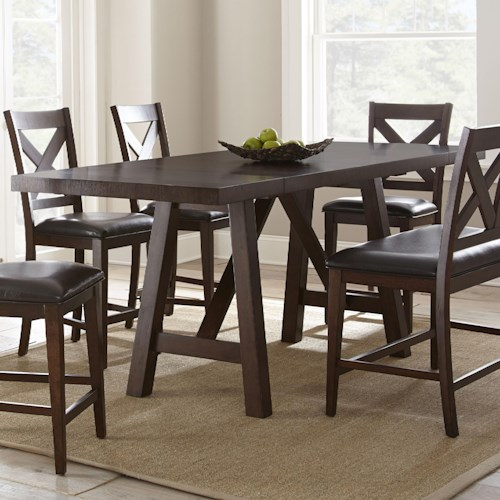 Steve Silver Clapton Counter Trestle Table with Two Leaves