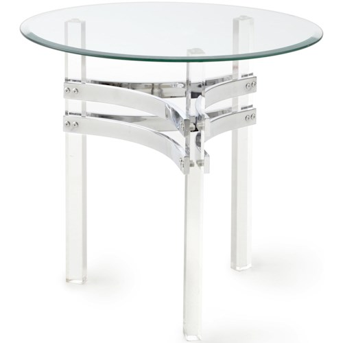 Steve Silver Clayhill Round End Table with Acrylic Legs