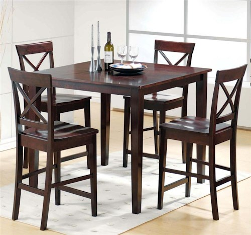 Steve Silver Cobalt 5-Piece Casual Counter Height Table & X-Back Chair Set