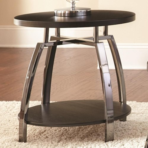 Steve Silver Coham Round End Table with Metal Frame