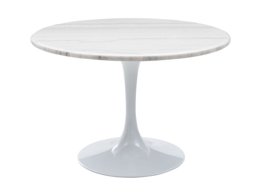 Colfax Mid Century Modern Round Marble Top Dining Table White Base By Steve Silver At Van Hill Furniture