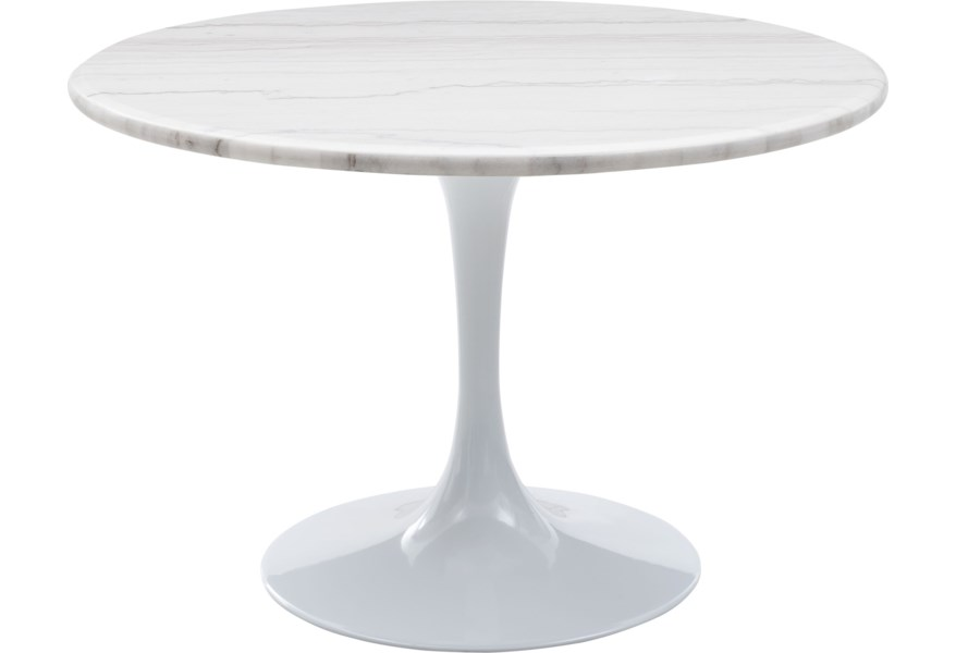 Prime Colfax Mid Century Modern Round Marble Top Dining Table