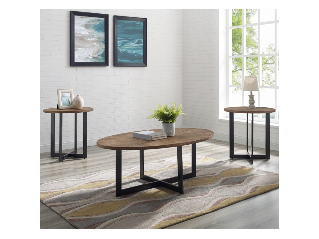 Steve Silver Colton Industrial Living Room Table Piece Set - Colton coffee table