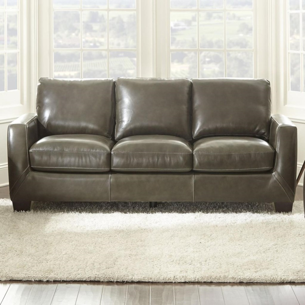 Steve Silver Coltrane Ct900s Contemporary Leather Match Sofa