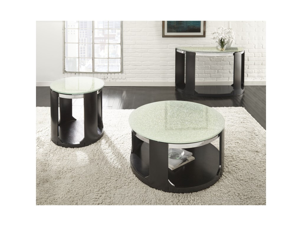 Morris Home CroftenCrackled Glass Cocktail Table with Casters