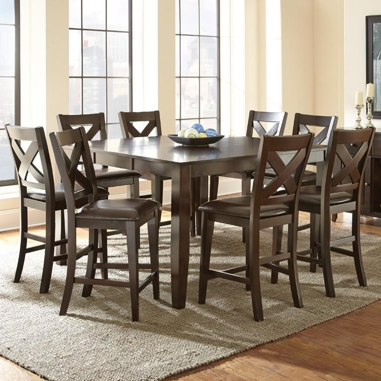 Amazing Steve Silver Crosspointe 9 Piece Counter Height Dining Set With 18