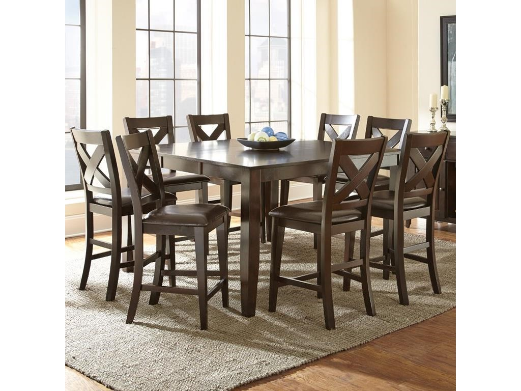 Steve Silver Crosspointe 9 Piece Counter Height Dining Set With 18