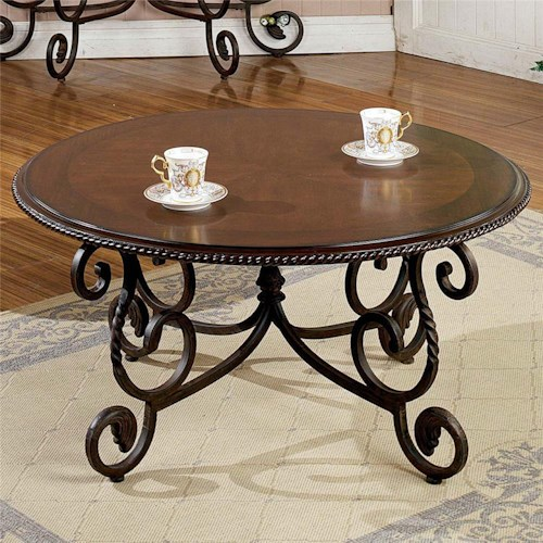 Steve Silver Crowley Traditional Round Scrolled Cocktail Table