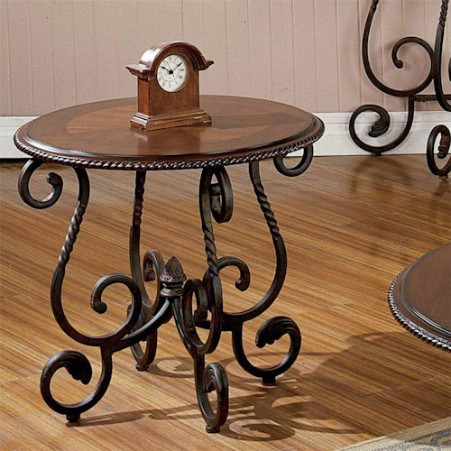 Steve Silver Crowley Traditional Oval Scrolled End Table
