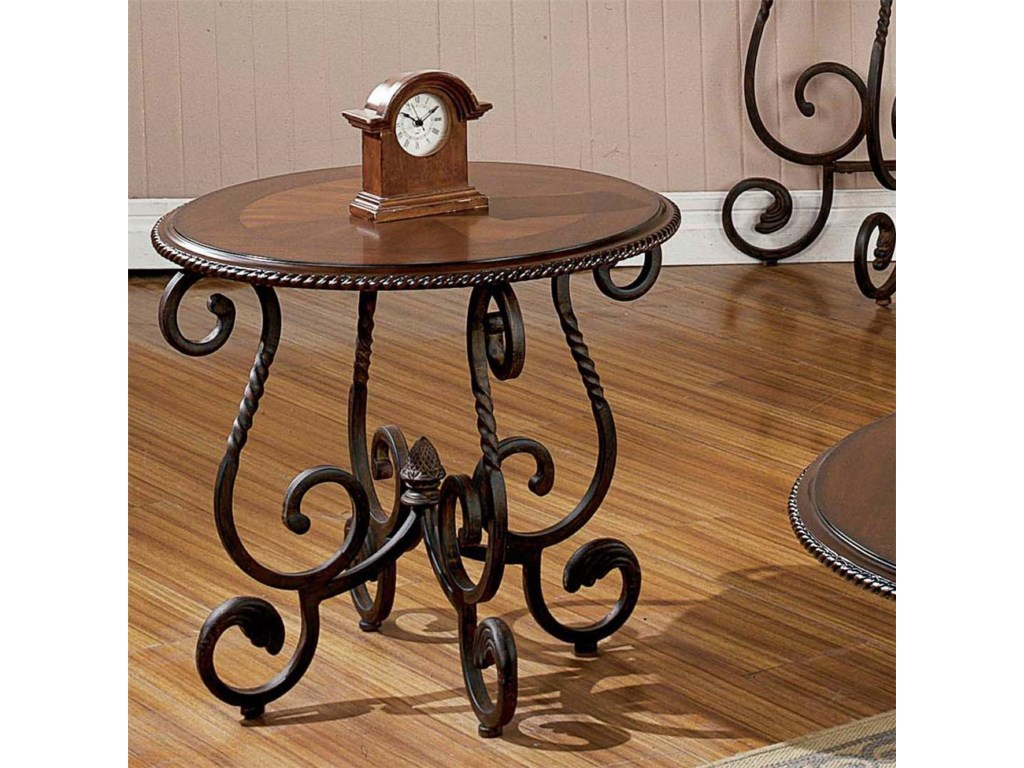 Crowley traditional oval scrolled end table