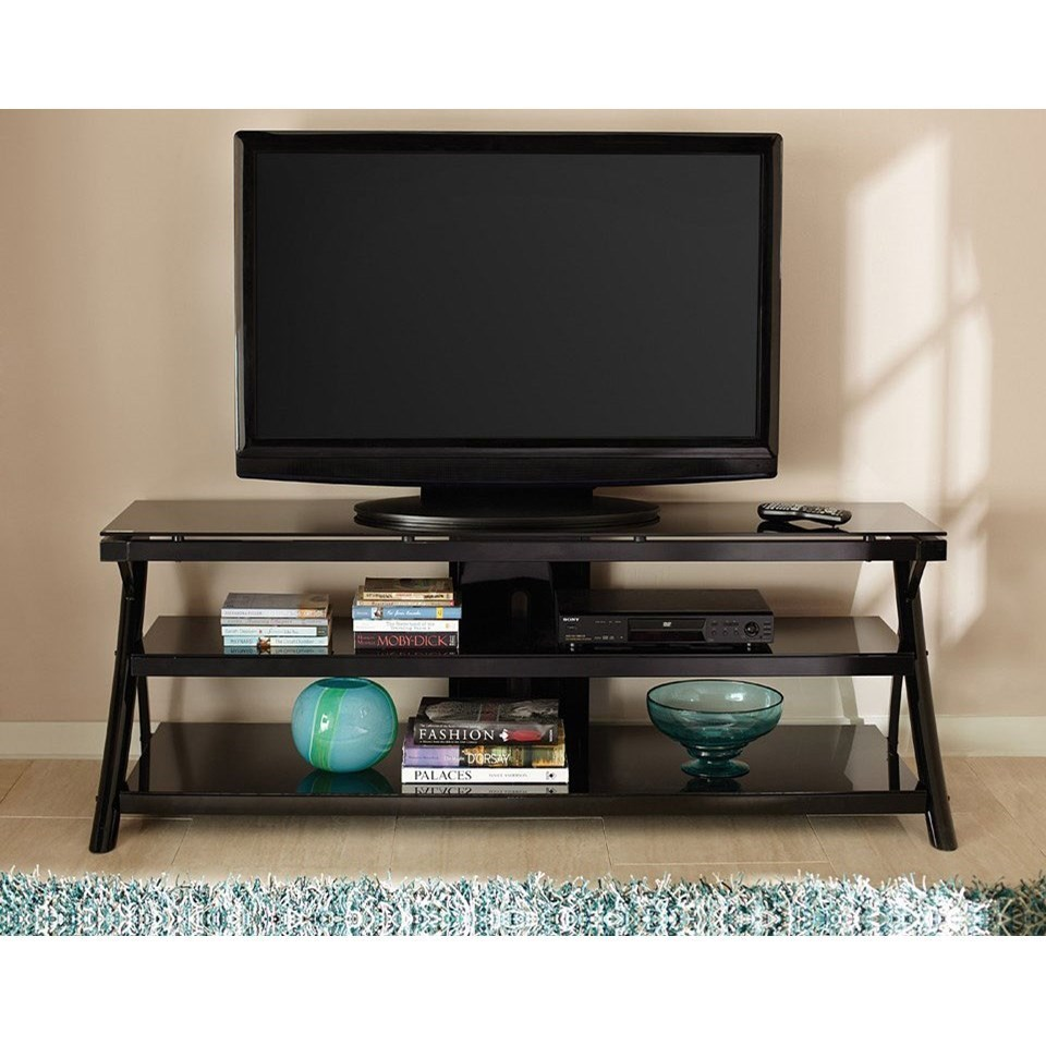 Vendor 3985 Cyndi Ct300tv Two Shelf Glass Top Television Stand