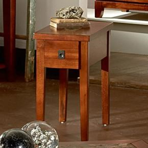 Davenport Transitional Chairside End Table With Slate Inlay