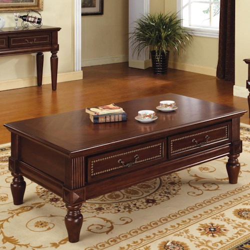 Steve Silver Davina 2 Drawer Traditional Cocktail Table with Nailhead Trim and Turned Feet