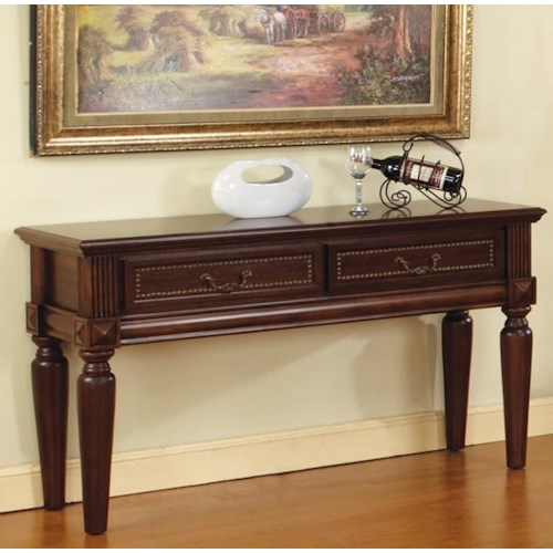 Steve Silver Davina 2 Drawer Traditional Sofa Table with Nailhead Trim