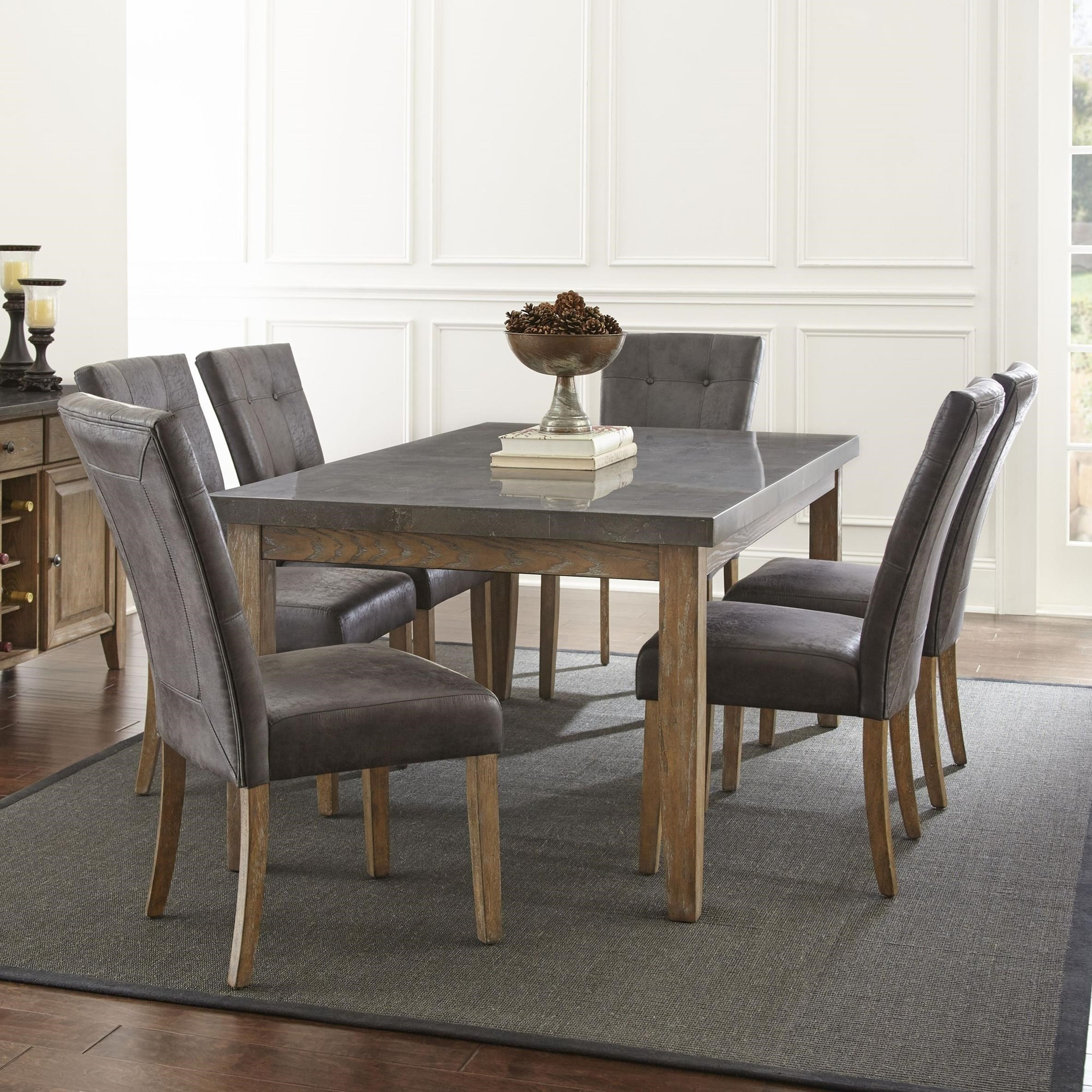 Steve Silver Debby 7 Piece Transitional Table And Chair Set With Bluestone  Top