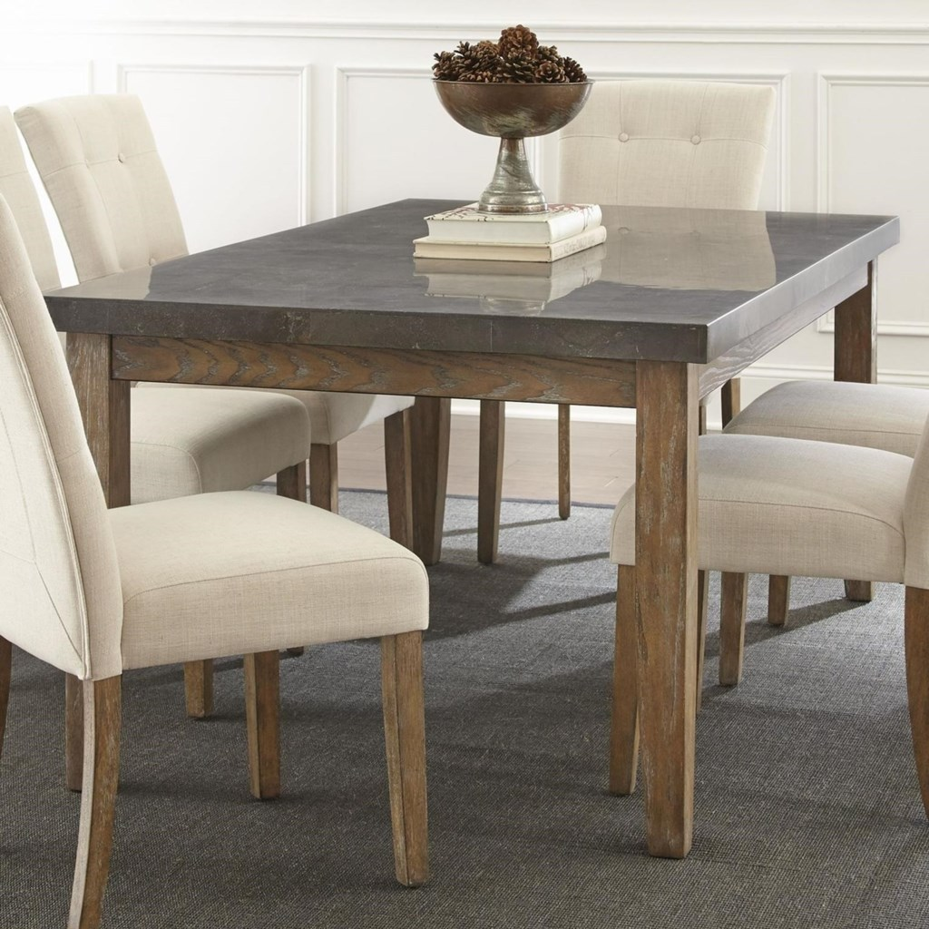 Steve silver debby transitional rectangular dining table with bluestone top household furniture kitchen tables
