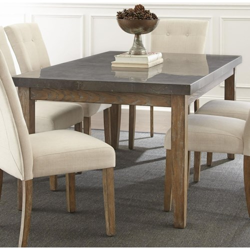 Steve Silver Debby Transitional Rectangular Dining Table with Bluestone Top