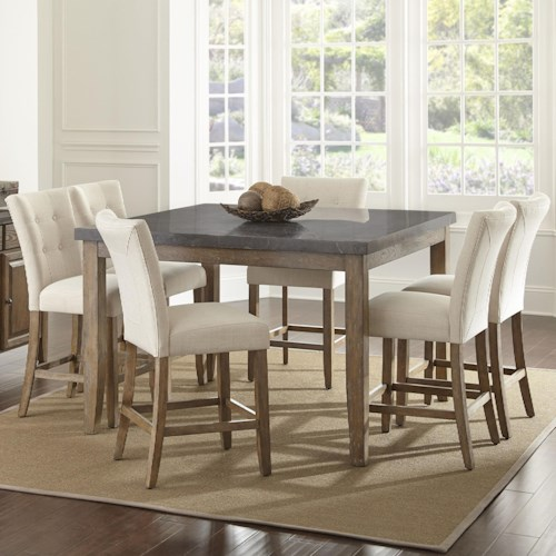 Steve Silver Debby 7 Piece Transitional Square Table and Chair Set with Bluestone Top