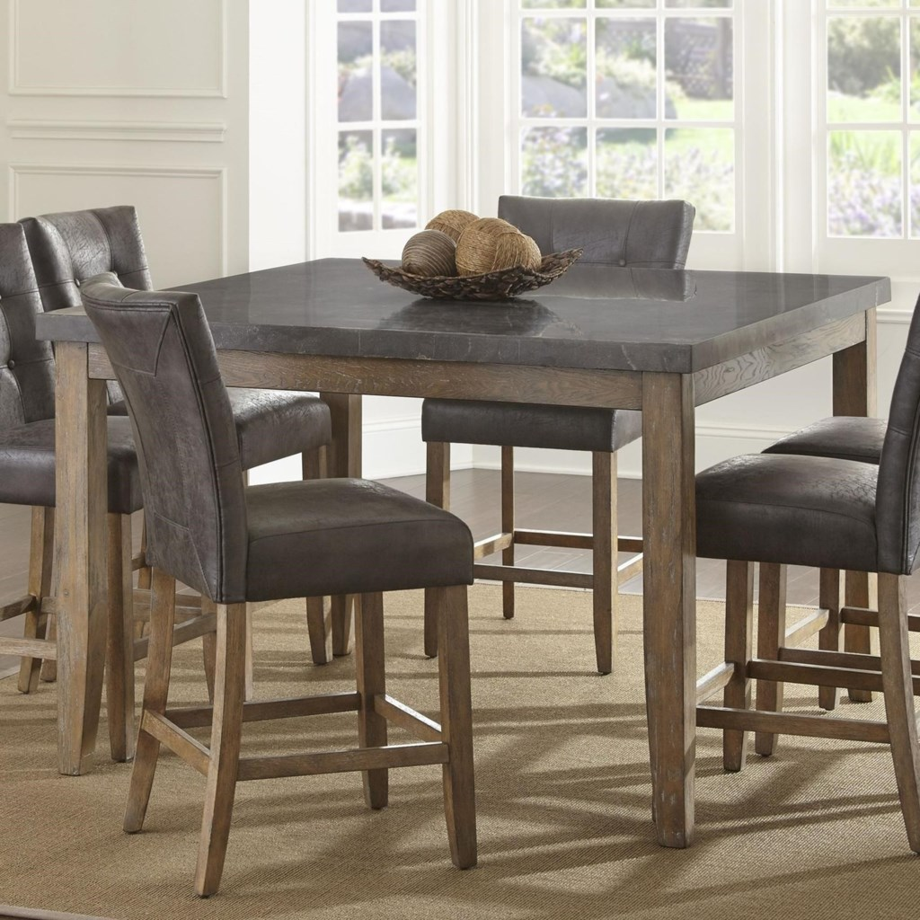 Steve silver debby transitional square counter height dining table with bluestone top household furniture kitchen tables