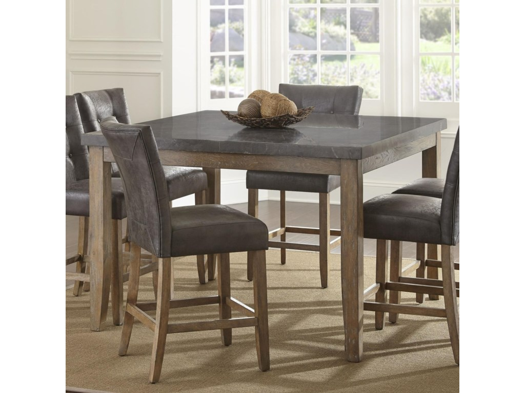 Debby Transitional Square Counter Height Dining Table With Bluestone Top