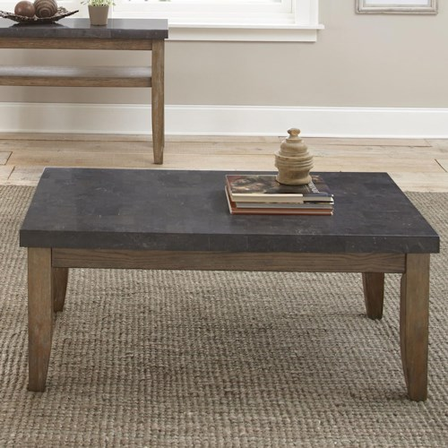 Steve Silver Debby Industrial Cocktail Table with Bluestone Top