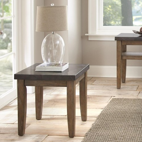 Steve Silver Debby Industrial End Table with Bluestone Top