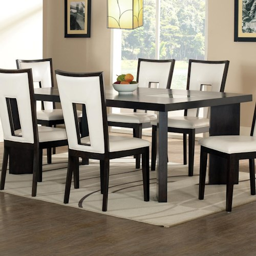 Steve Silver Delano Contemporary Dining Table with Cracked Glass Insert