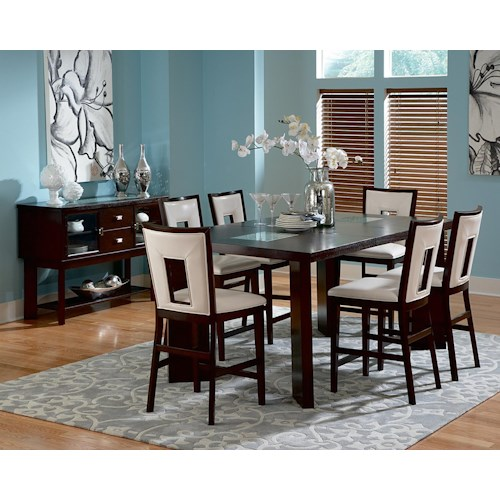 Steve Silver Delano 7-Piece Contemporary Counter Height Table & Side Chair Set