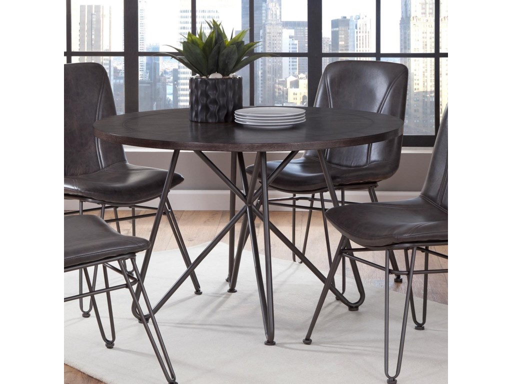 Dudley 45 Round Industrial Dining Table With Iron Base