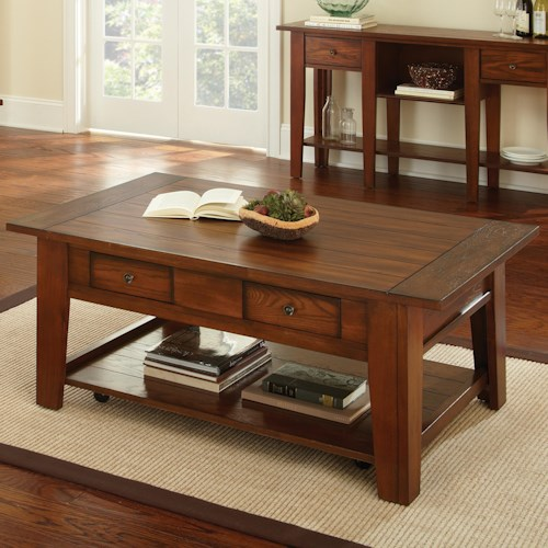 Steve Silver Desoto Cocktail Table with 2 Drawers and Casters
