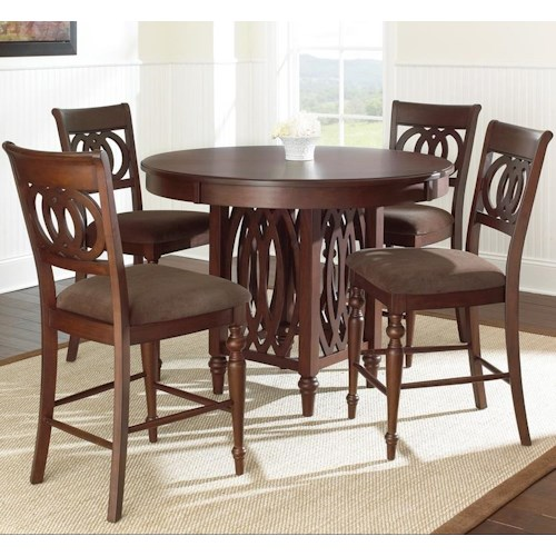 Steve Silver Dolly 5 Piece Round Counter Height Dining Set