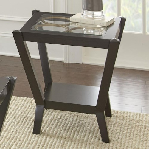Steve Silver Doreen Square End Table with Glass Top