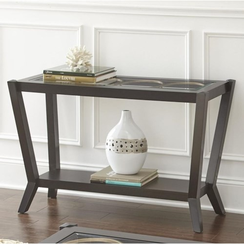 Steve Silver Doreen Mid-Century Modern Sofa Table with Glass Top