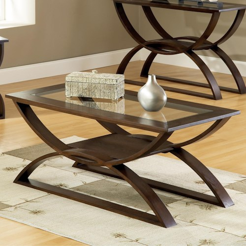 Steve Silver Dylan  Cocktail Table with Curved Base