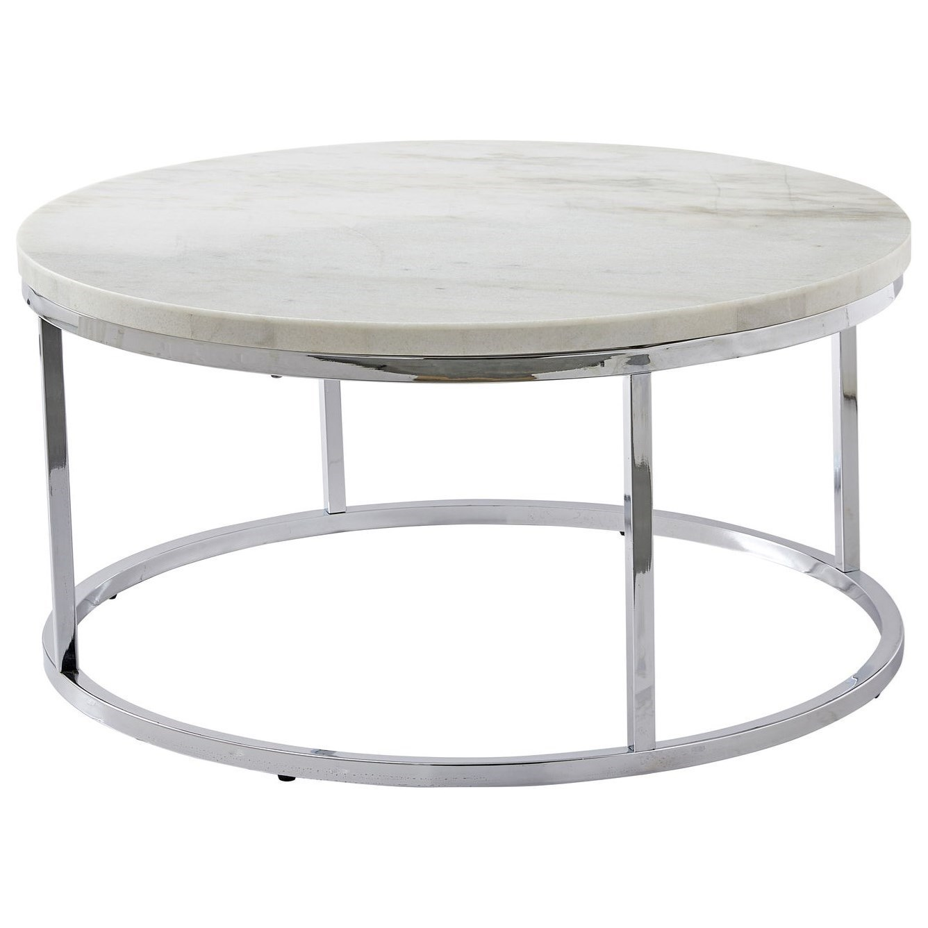 - Steve Silver Echo Contemporary Round Cocktail Table With White