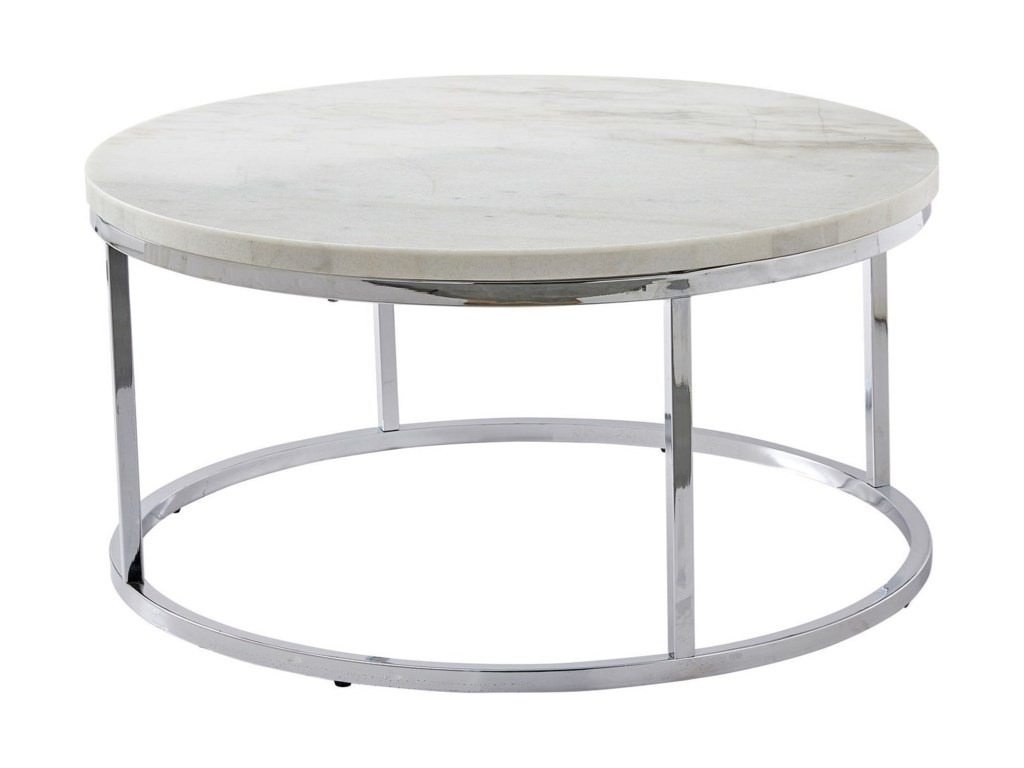 Steve Silver Echo Contemporary Round Cocktail Table With White Marble Top Wayside Furniture Cocktail Coffee Tables