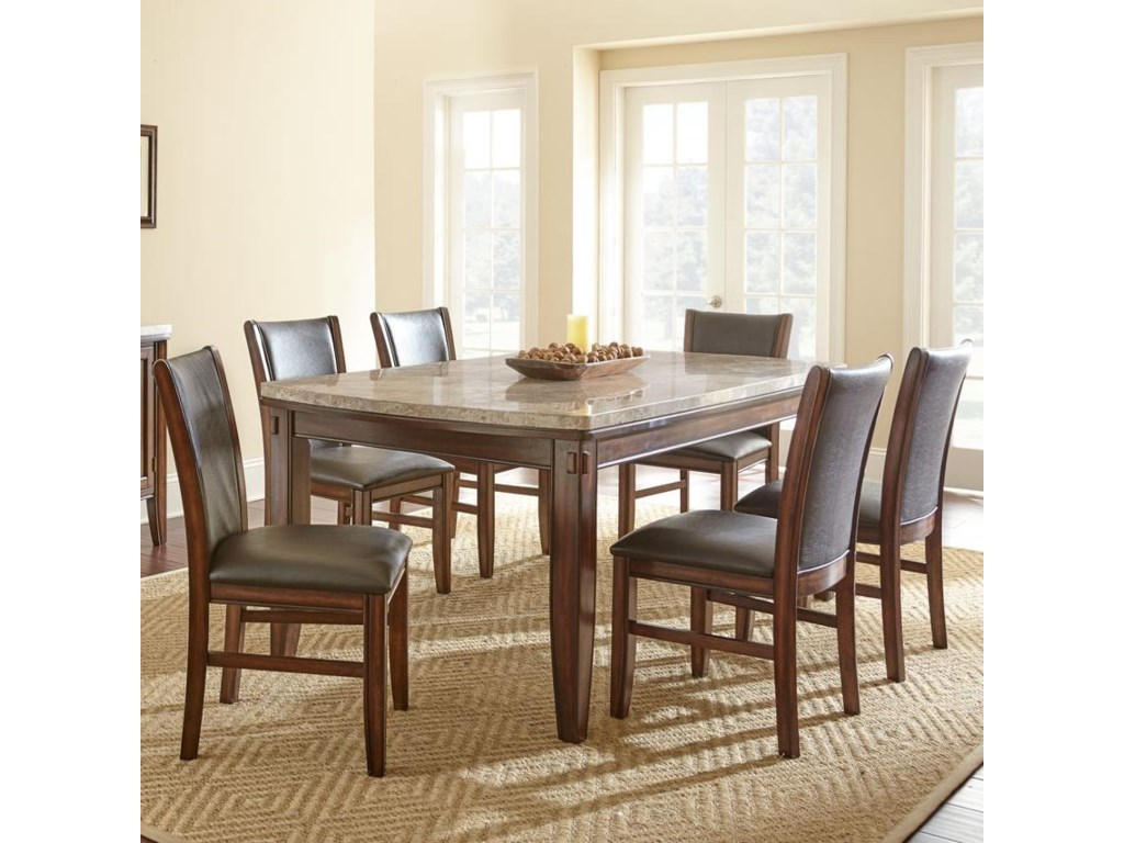 Steve silver eileen 7 piece marble topped dining table with eileen 7 piece marble topped dining table with upholstered side chair set by steve silver dzzzfo
