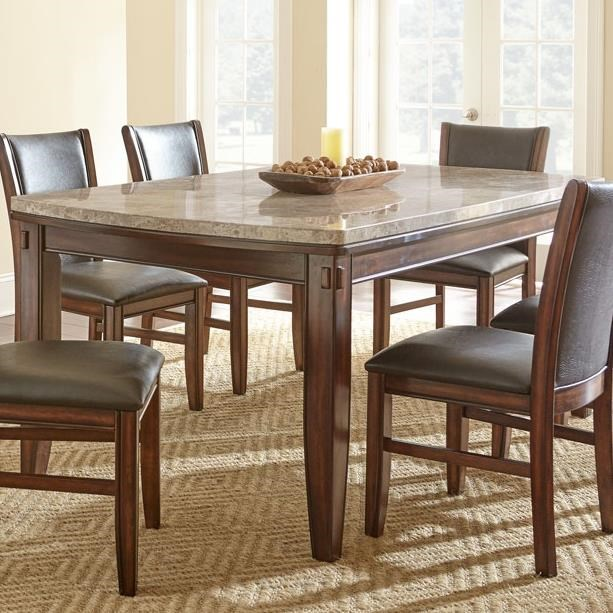 Eileen Marble Top Dining Table With Tapered Legs And Pecan Finish