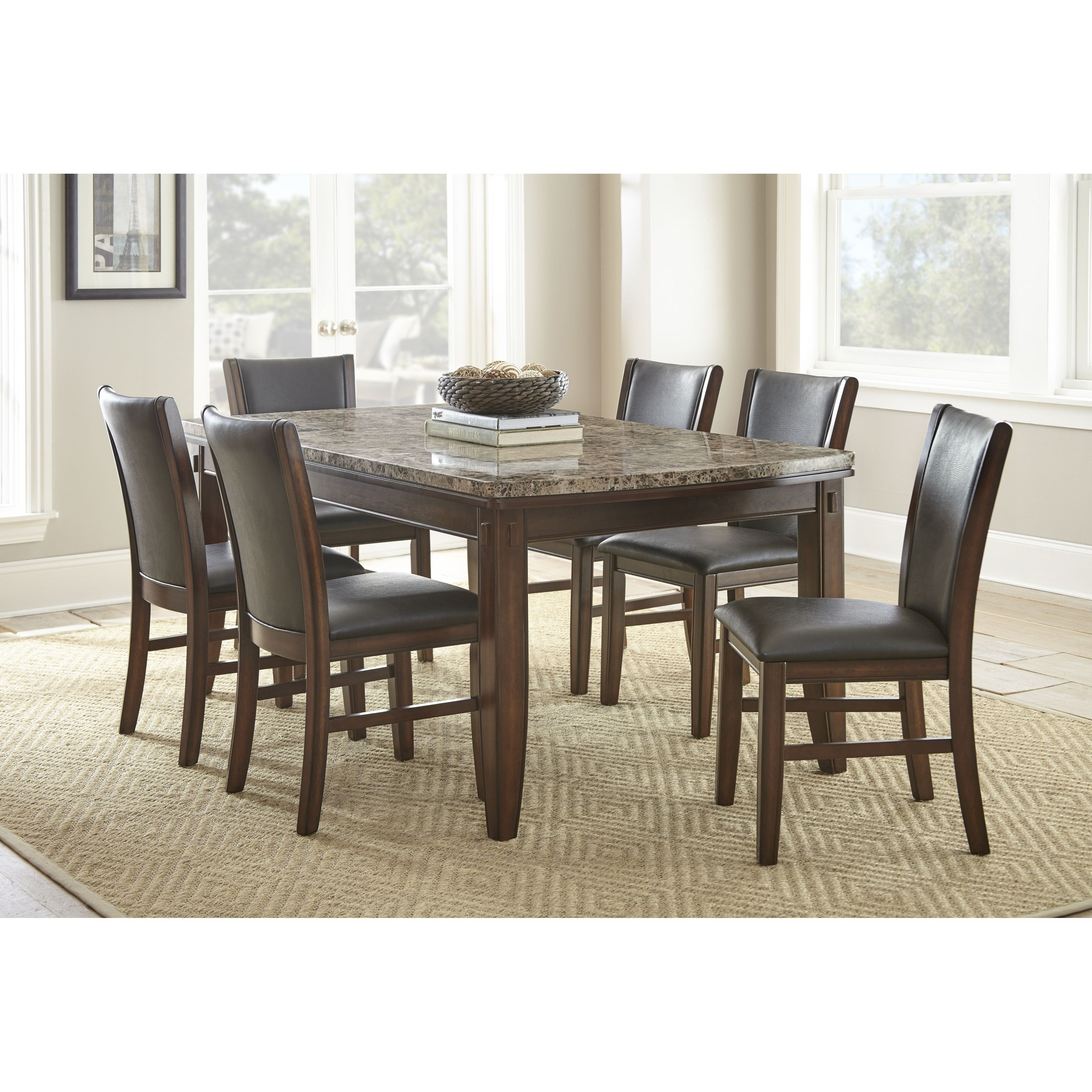 Steve Silver Eileen 7 Piece Brown Marble Topped Dining Table With  Upholstered Side Chair Set