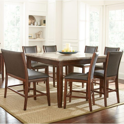 Steve Silver Eileen 8-Piece Marble Topped Counter Table with Upholstered Side Chair and Stool Set