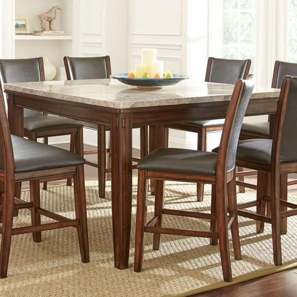 Steve Silver Eileen Marble Top Counter Table With Tapered Legs And Pecan  Finish