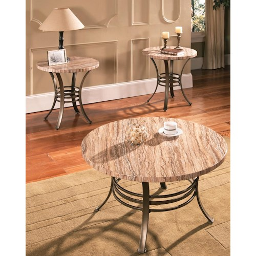 Steve Silver Ellen 3-Pack Casual Faux Marble Occasional Table Set