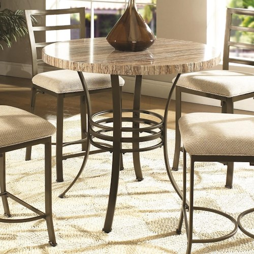 Steve Silver Ellen Round Faux Marble Counter Height Table