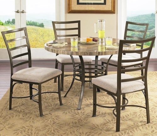 Star Raven Seville 5 Piece Round Table Side Chairs Set Efo Furniture Outlet Dining 5 Piece
