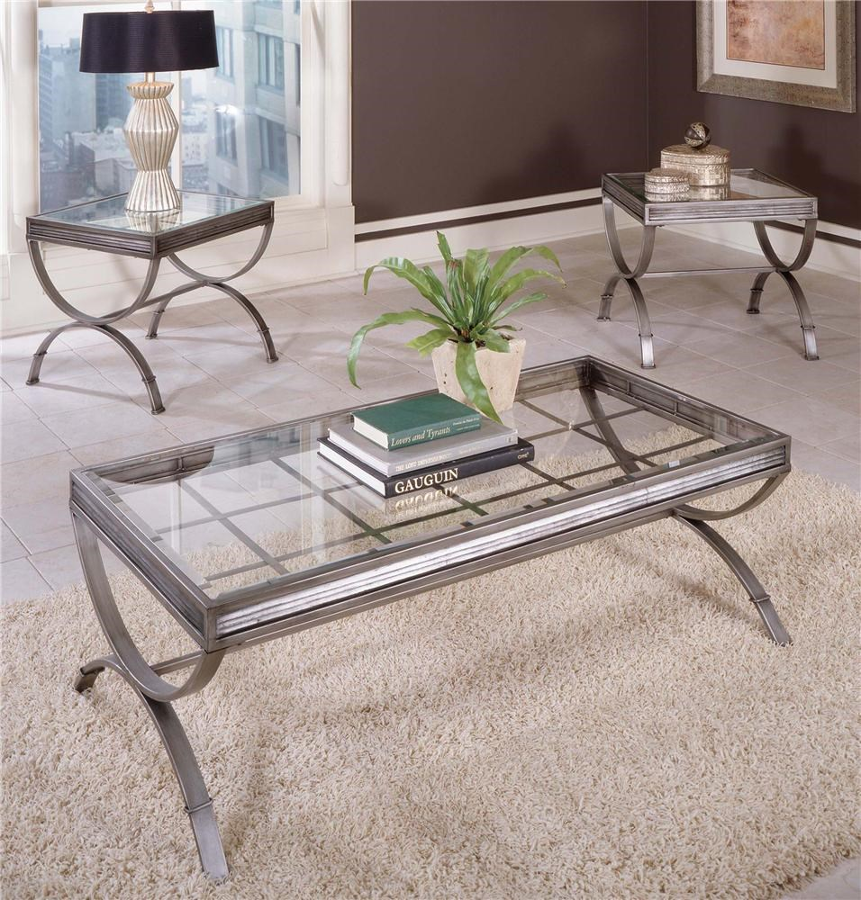 Metal & Glass Top 3 Pack Occasional Table