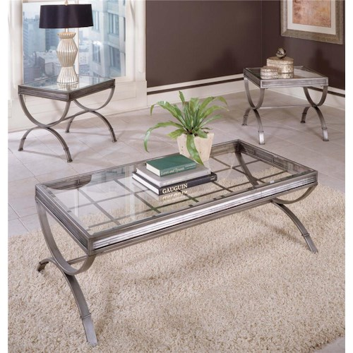 Steve Silver Emerson EM Metal & Glass Top 3 Pack Occasional Table